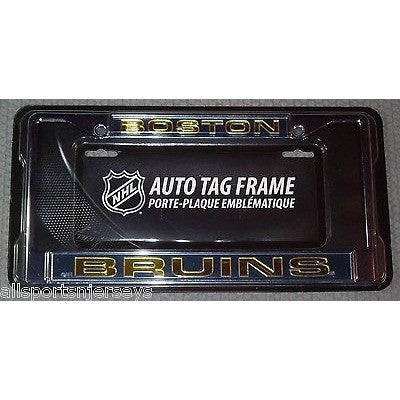 NHL Boston Bruins Laser Cut Chrome License Plate Frame