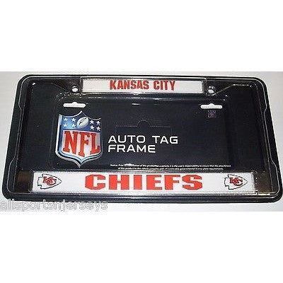 NFL Kansas City Chiefs Chrome License Plate Frame Thick Red Letters