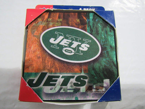 NFL New York Jets Logo on Reflections Neoprene Foam Coasters 4 Pack