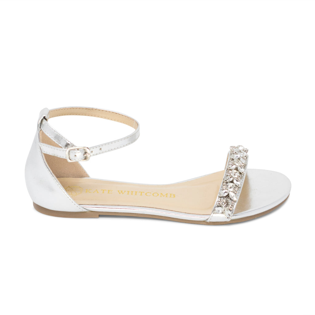 Wedding Shoes Rhinestone Bridal Flat - Sisley Silver - Kate Whitcomb Shoes