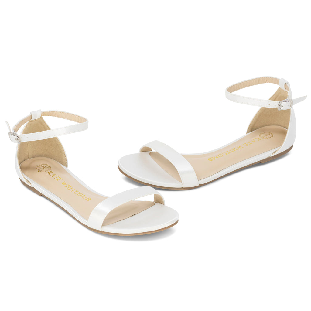 Wedding Shoes Satin Flat - Flora Ivory - Kate Whitcomb Shoes