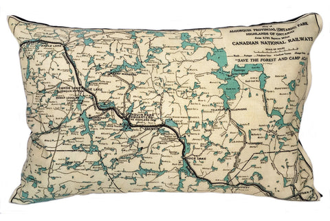 Algonquin Park Vintage Map Pillow
