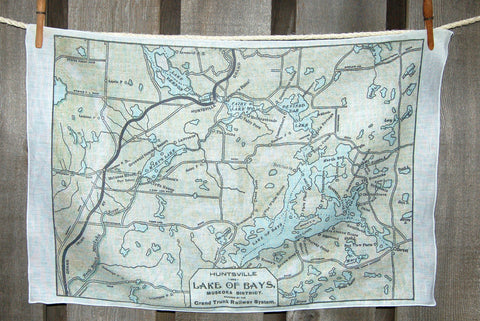 Lake of Bays circa 1905 Map Tea Towel
