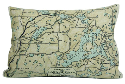 Lake of Bays Vintage Map Pillow