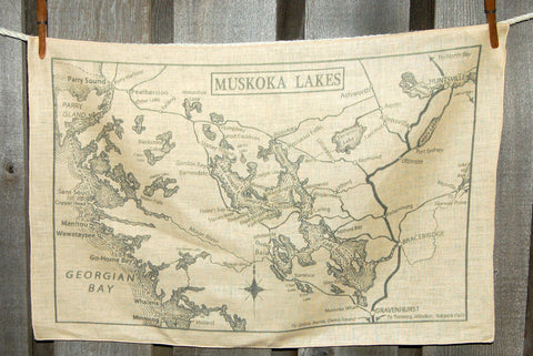 Muskoka Lakes circa 1920 Map Tea Towel