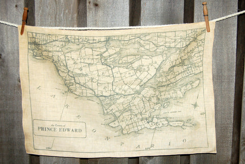 Prince Edward County circa 1932 Map Tea Towel