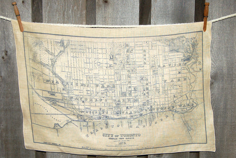 Vintage Toronto circa 1873 Map Tea Towel