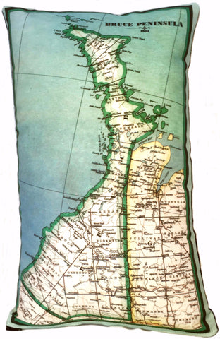 Bruce Peninsula Vintage Map Pillow