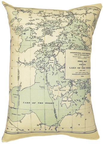 Lake of the Woods Vintage Map Pillow