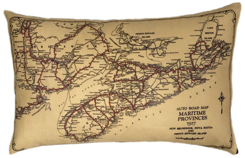 Nova Scotia Vintage Map Pillow
