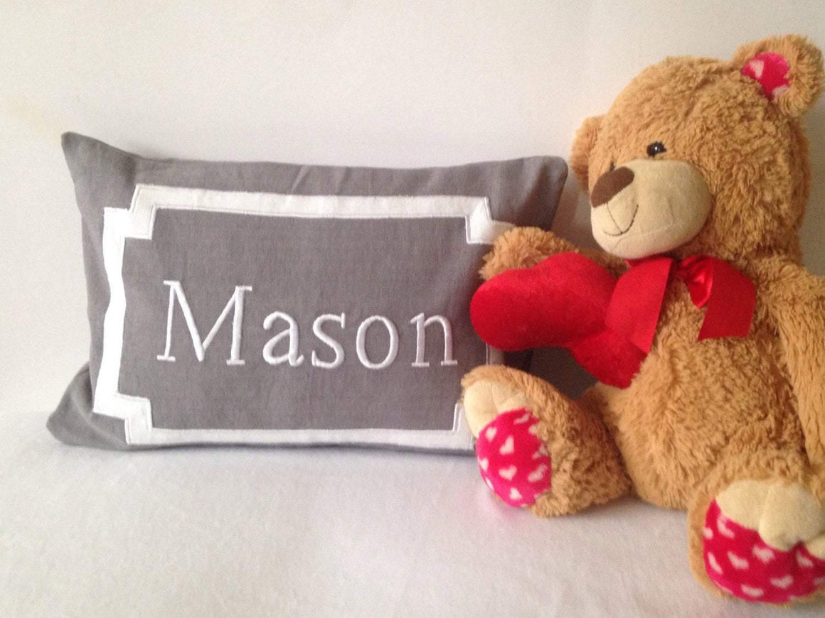 Creative baby shower gifts, Gray Monogram Pillow Covers, Gifts for Baby Shower, Gifts for mother to be, Monogrammed boudoir pillow - Snazzy Living
