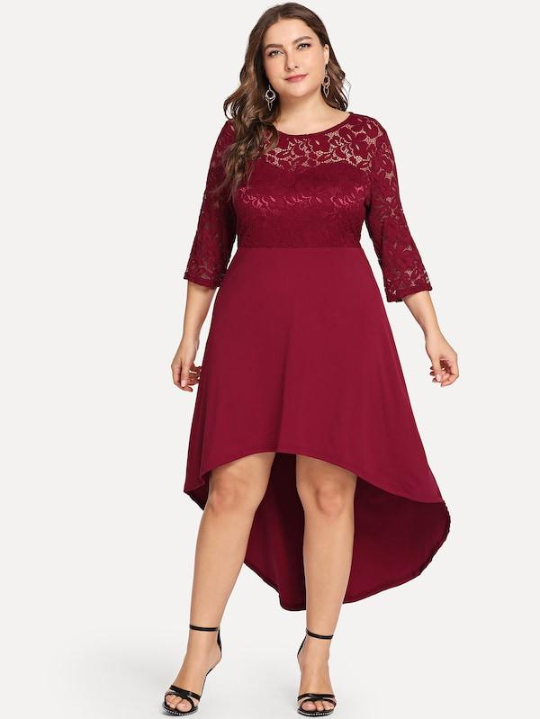 Plus Lace Overlay Bodice Solid Dress