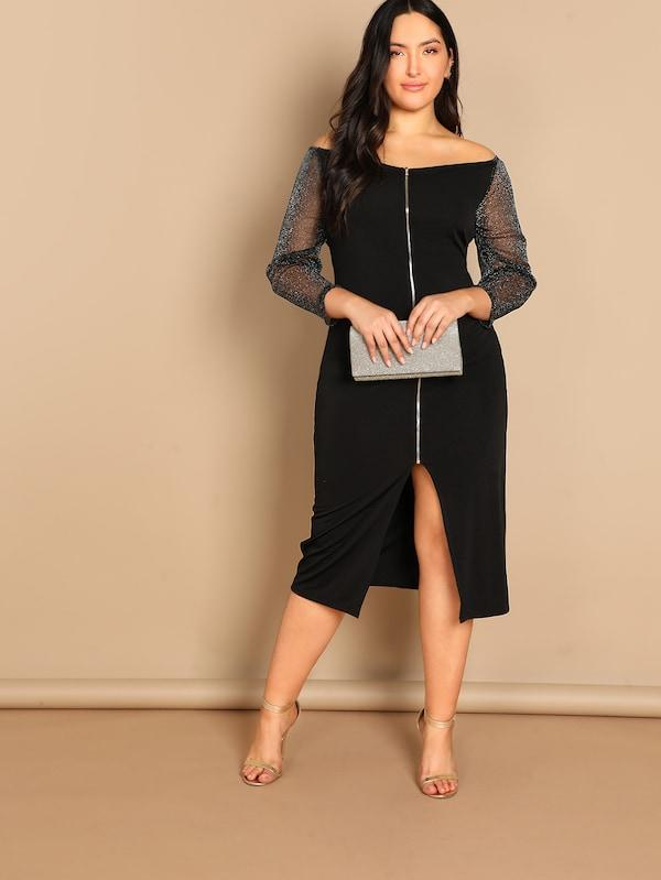 Plus Off Shoulder Mesh Sleeve Zip Up Dress