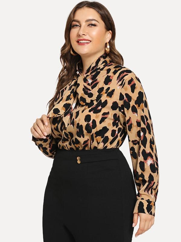 Plus Leopard Print Tied Neck Blouse