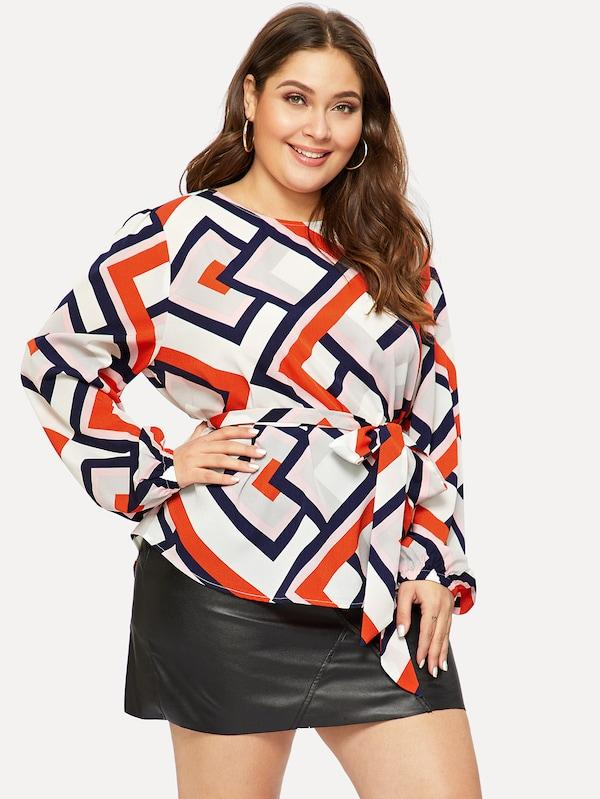 Plus Belted Geo Print Top