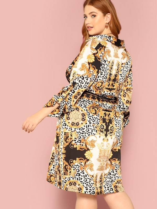 Plus Ornate Print Roll Tab Sleeve Dress