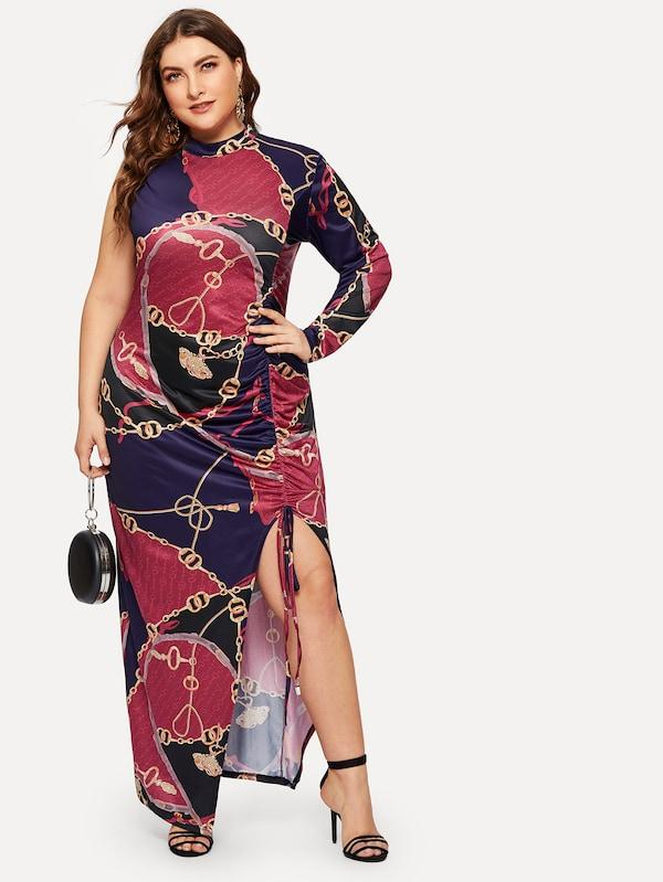 Plus Chain Print One Sleeve Drawstring Dress