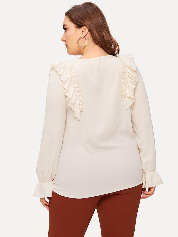 Plus Ruffle Button Decoration Blouse