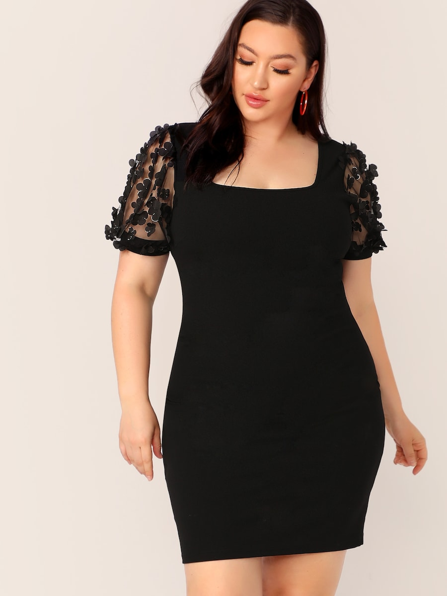 Plus Size 3D Applique Mesh Sleeve Pencil Dress