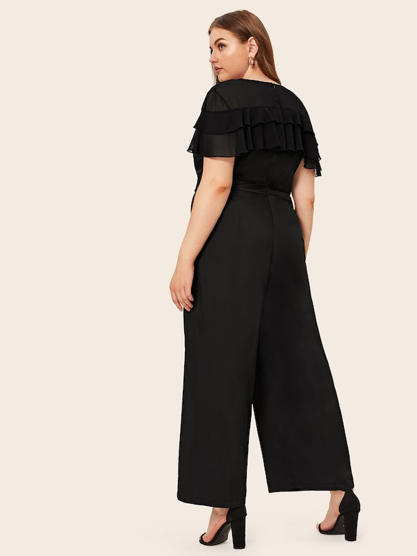 Plus Ruffle Trim V-Neck Belted Jumpsuit