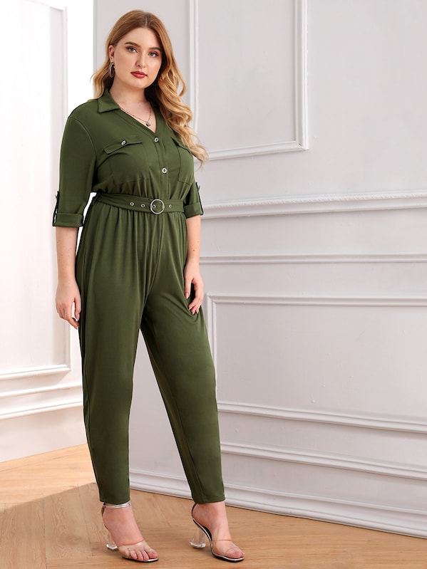 Plus Roll Tab Sleeve Button Pocket Jumpsuit