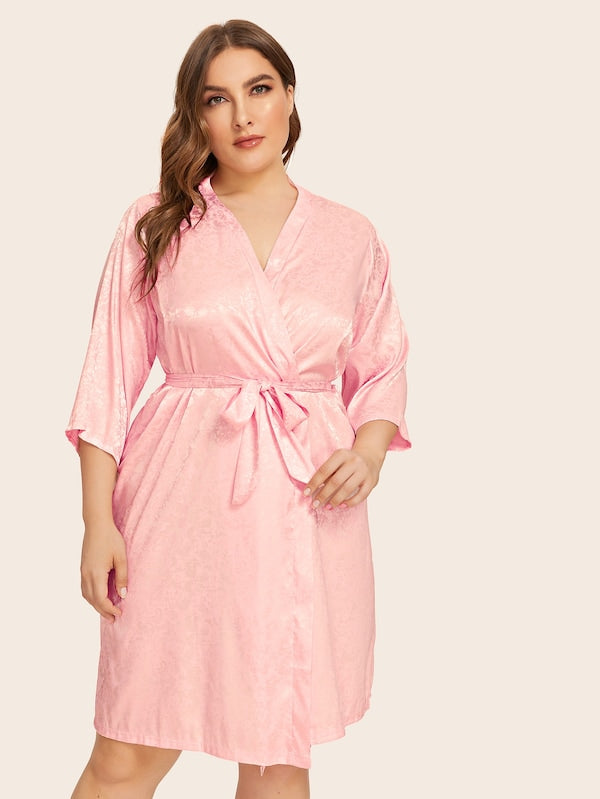 Plus Floral Satin Robe With Belt