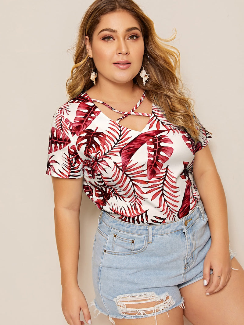 Plus Size Criss Cross Tropical Print Tee
