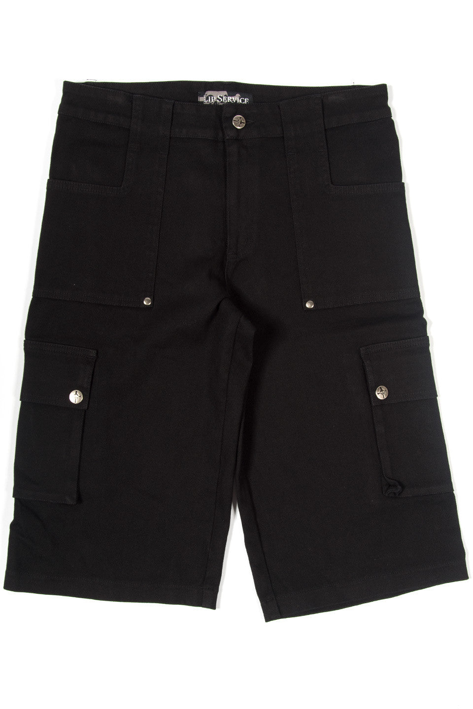 Vintage Black Cargo Shorts-Bottoms-Lip Service