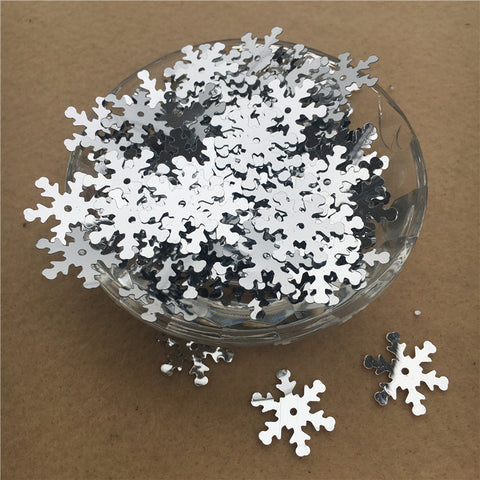 19mm Silver Christmas Snowflake Sequins