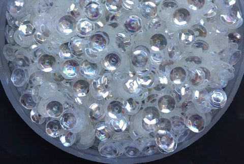 4mm PVC Round Cup Crystal Transparent Loose Sequins -- 10ml