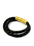 Women's Black Double-Wrap Leather Bracelet with Gold Lock  | Clariste Jewelry - 2