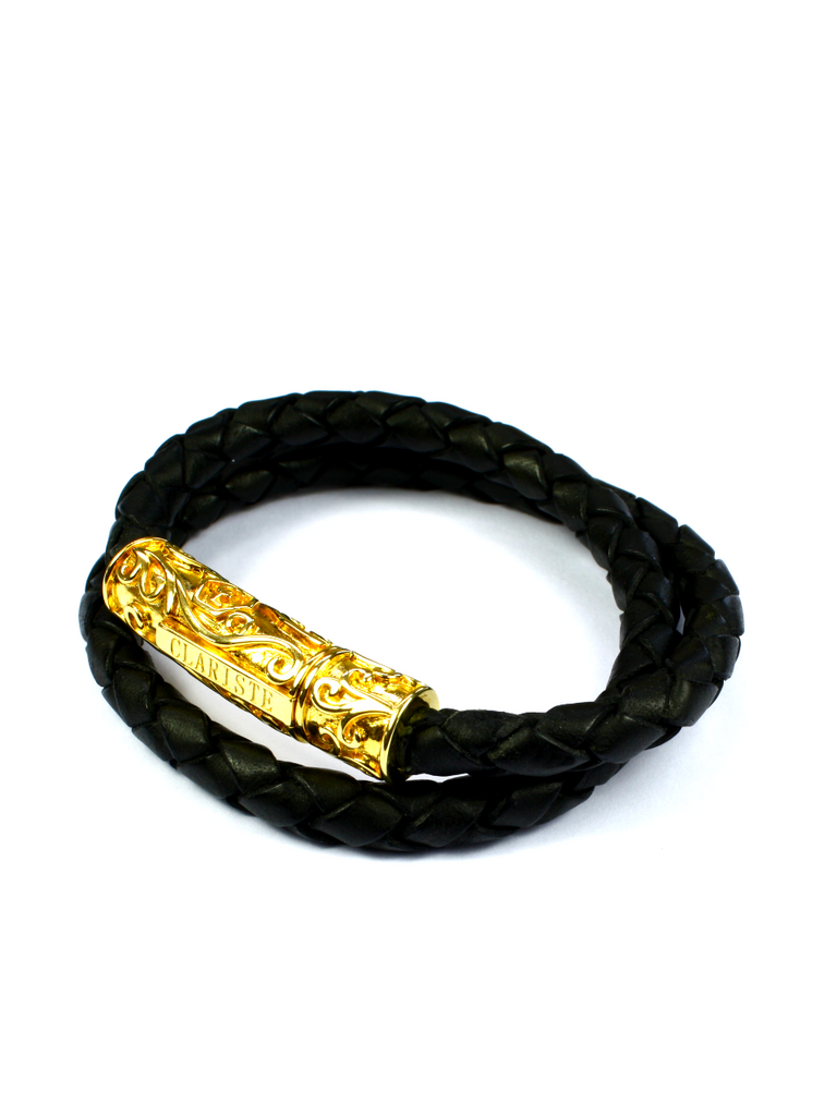 Women's Black Double-Wrap Leather Bracelet with Gold Lock
