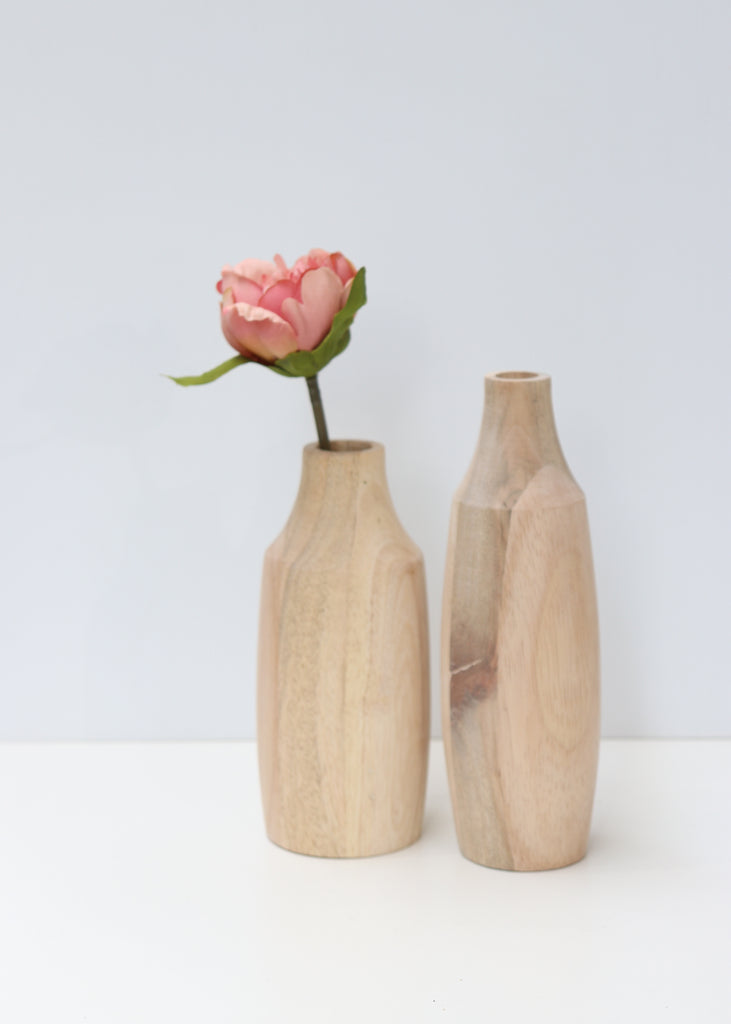 Wooden Vase with Glass Tube