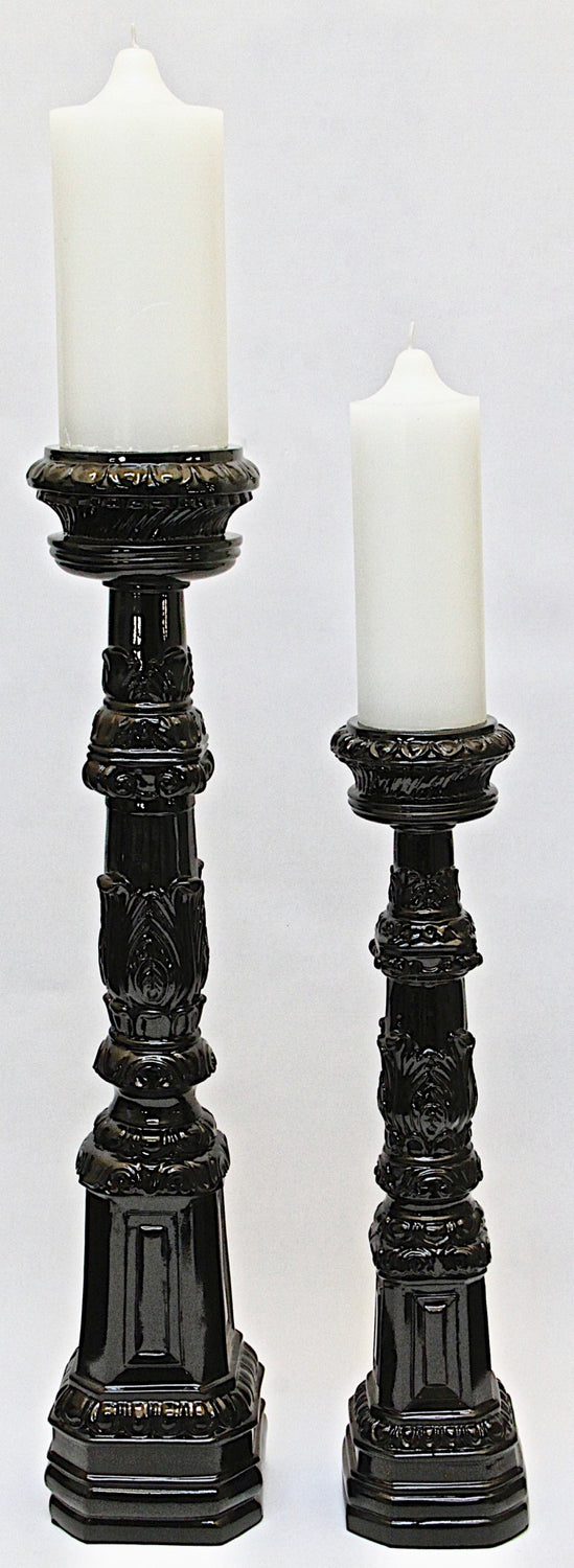Candle Holder  Glossy Black