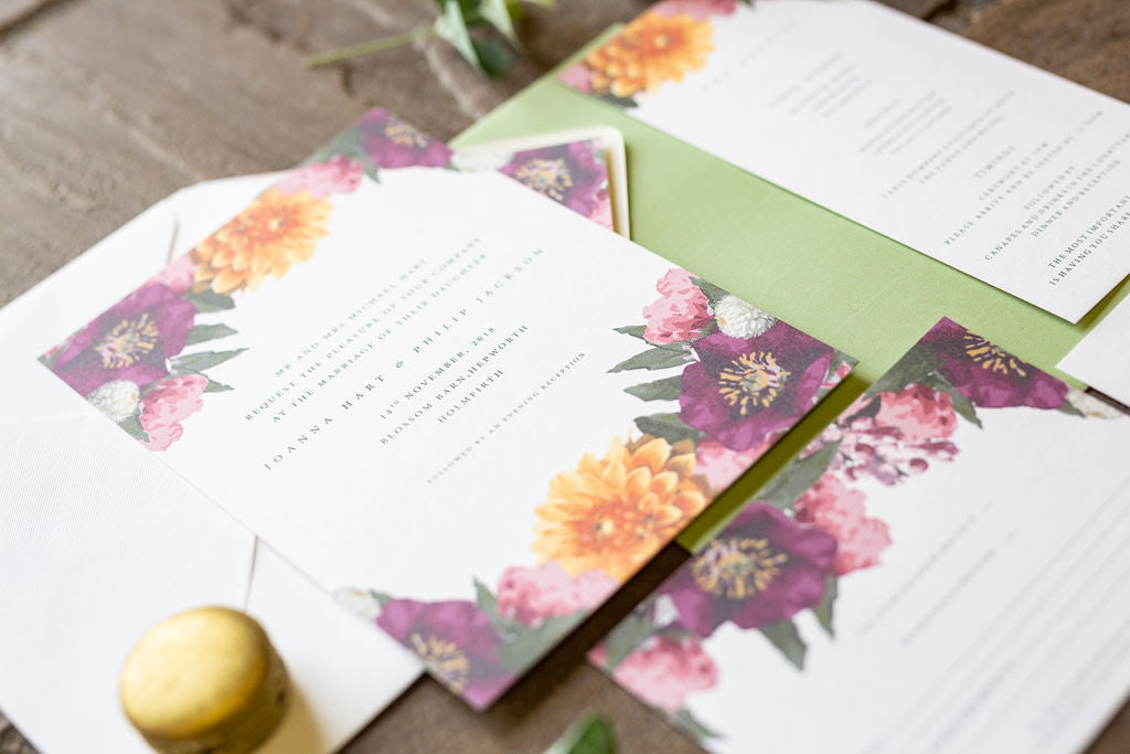 faux flowers afloral boho blossom barn wedding stationery
