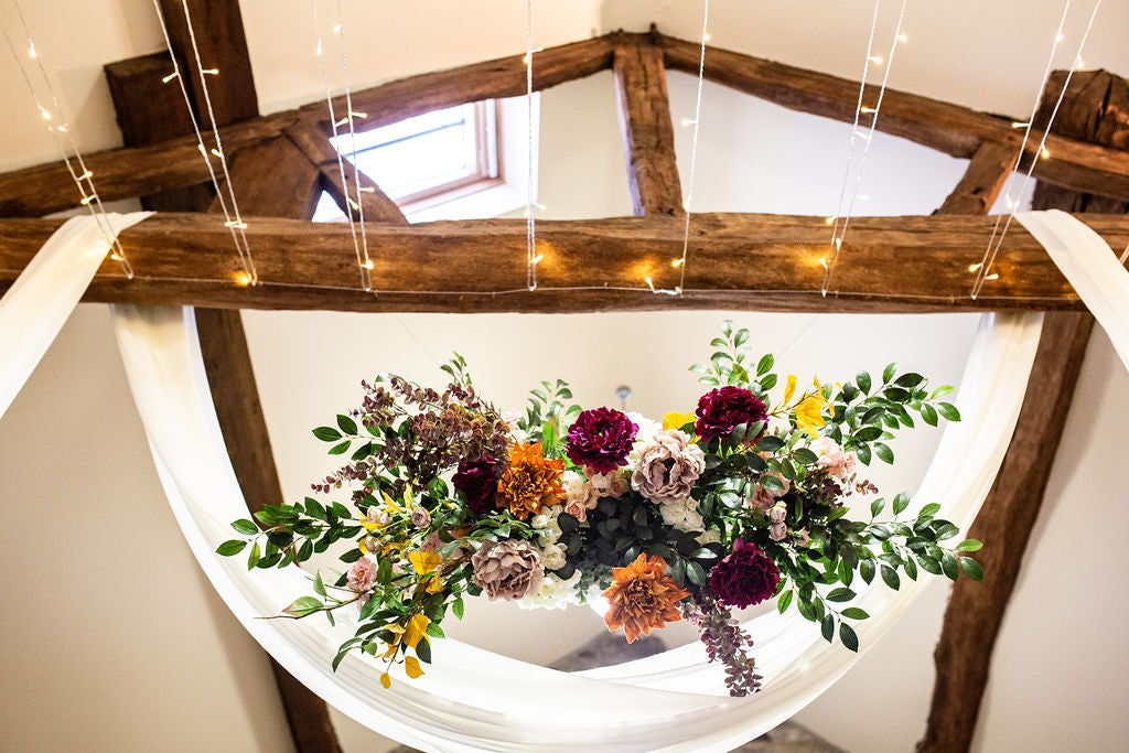 faux flowers afloral boho blossom barn wedding