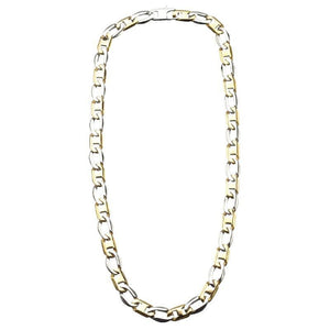 Gold & Silver Stainless Steel Dual Tone Flat Mariner 11mm Link Chain Chains