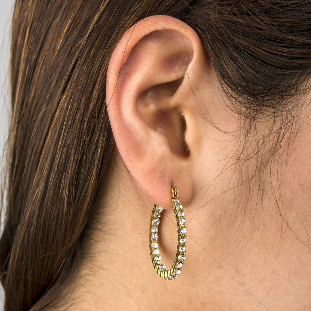 Gold Stainless Steel & White CZ Alternate Eternity Hoops Earrings