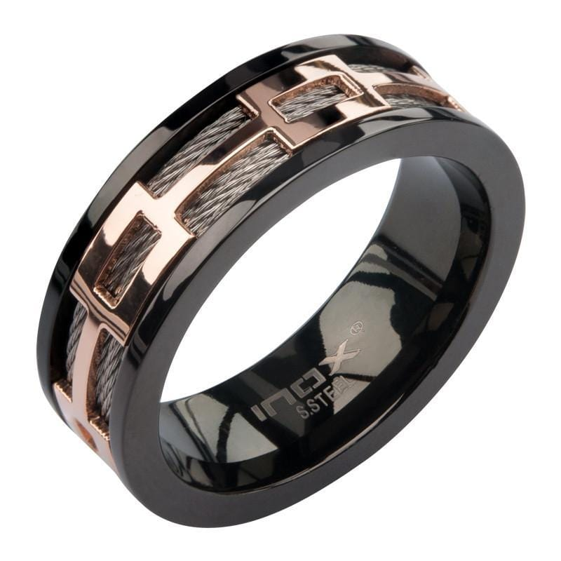 Rose Gold, Black & Silver Stainless Steel Buckle Cable Spinner Ring Rings