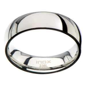Silver Stainless Steel Classic 6mm Glossy Band Rings