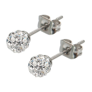Silver Stainless Steel Small White Ferido Crystal Ball Studs Earrings