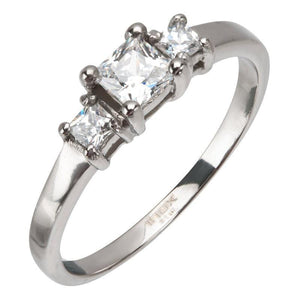 Silver Stainless Steel Three Stone Princess CZ Engagement Ring Rings