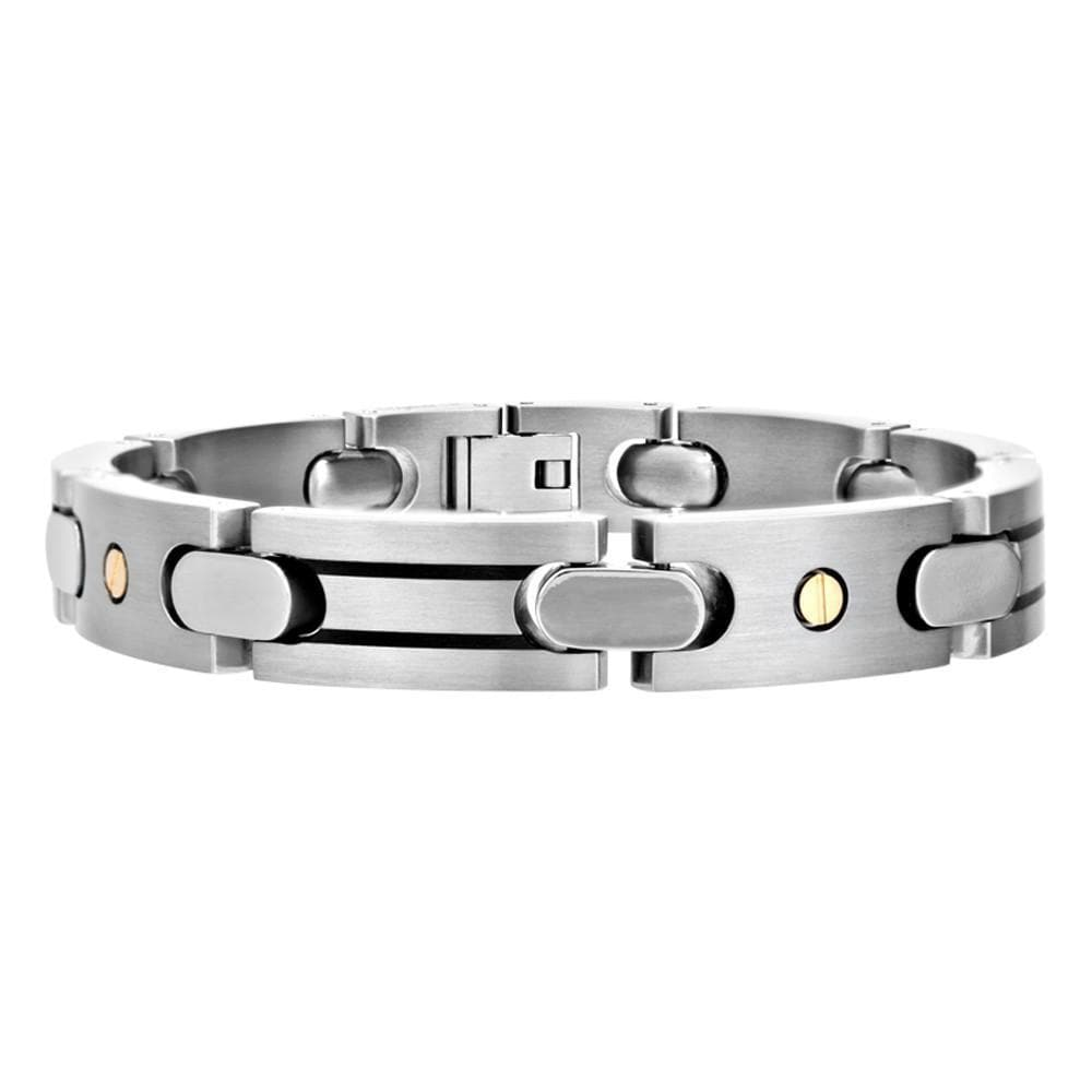 Silver Titanium with Gold & Black Stainless Steel Bracelet Bracelets