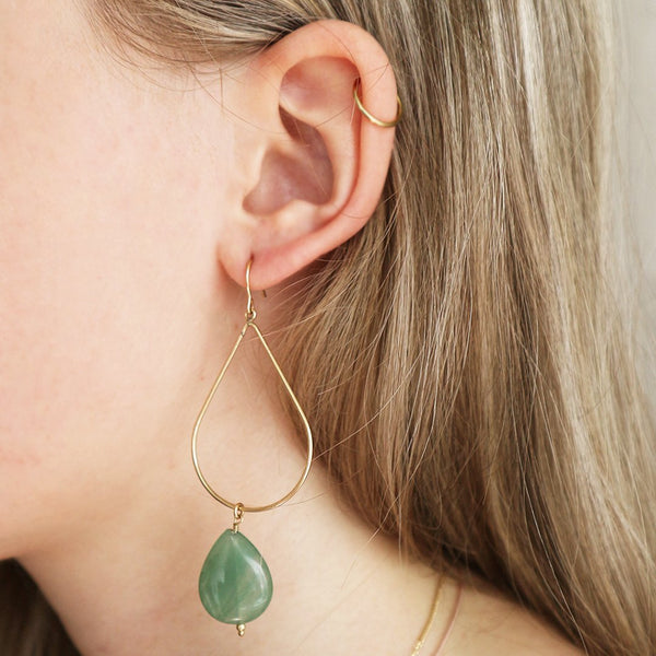 Petite Grand Gold Jade Earrings