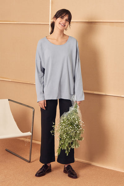 Building Block Relaxed Long Sleeve Top - Cloud