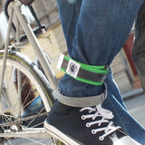 Cycling trousers strap – apple green by Felvarrom bicycle upcyclery - 1