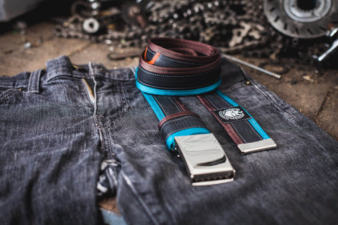 """Punctured"" inner tube belt, turquoise – dark brown by Felvarrom bicycle upcyclery - 1"