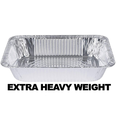 "Aluminum Pan 1/2 Size Deep Pan Extra Heavy Weight 9 x 13"" 10PK"