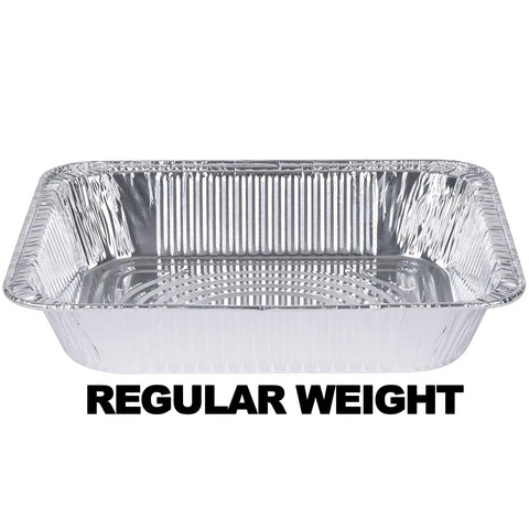"Aluminum Pan 1/2 Size Deep Pan Regular Weight 9' x 13"" 10PK"