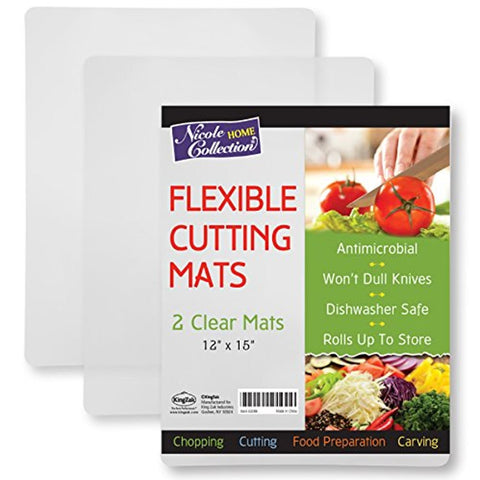 Nicole Home Collection Clear Kitchen Cutting Board Set of 2 Clear Mats